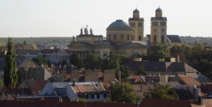 A church in Eger with neat statues on top