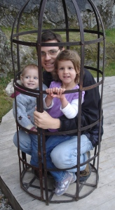 Dad and girls in the Crow's cage